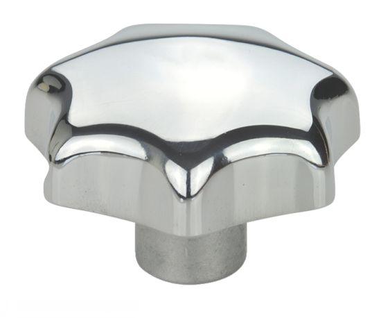 Bouton étoile aluminium poli, borgne