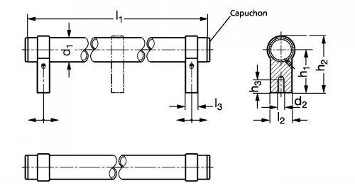 Poignée tubulaire aluminium - Schéma