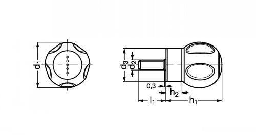 Poignée à boule à tige filetée - Schéma