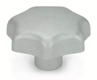 Bouton étoile aluminium mat, borgne